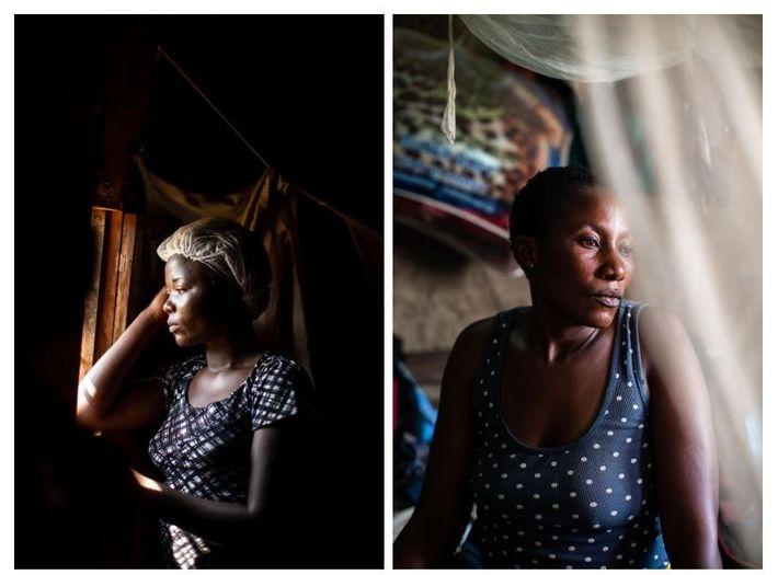 Esquerda: Quando a sobrevivente do Ébola, Aisha Ramzani Djadi, de 17 anos, ficou doente, estava grávida. ...