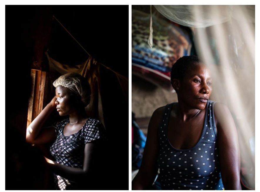 """Esquerda: Quando a sobrevivente do Ébola, Aisha Ramzani Djadi, de 17 anos, ficou doente, estava grávida. Perdeu o bebé durante os tratamentos. """"Gostava de ter mais filhos no futuro"""", disse Aisha, que agora trabalha no Centro de Tratamento de Ébola em Beni. Direita: A sobrevivente do Ébola, Nzyavake Marceline Endaniluhi, 35 anos, no seu quarto, em Beni, na casa onde vive com o marido e os 6 filhos. A sobrinha de Nzyavake morreu uma semana depois de dar à luz, e Nzyavake ficou a cuidar da criança. Quando o bebé começou a ficar com febre, Nzyavake levou-o ao hospital, onde acabou por falecer. Pouco tempo depois, Nzyavake desenvolveu os sintomas do vírus e foi levada para um centro de tratamento. """"Na altura eu pensava: a minha família veio para aqui e agora estão todos mortos; eu também vou morrer em breve."""" Nzyavake trabalha agora no Centro de Tratamento de Ébola, cuidando de outras pessoas infetadas com o vírus. """"Não sei porque razão fui a única que sobrevivi. É uma coisa difícil de processar."""""""