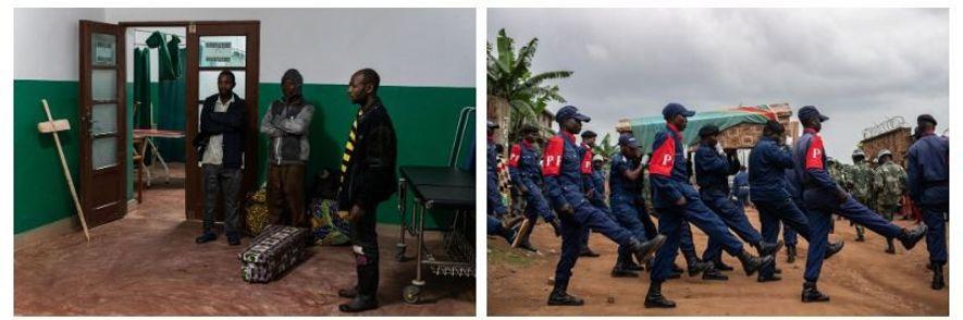 Esquerda: Sepultar as pessoas com segurança é fundamental para a contenção do surto. O corpo de uma pessoa que morreu com Ébola é altamente infeccioso e, se não for tratado adequadamente, pode contaminar outras pessoas. Direita: Forças da autoridade transportam o caixão de Tabu Amuli Emmanuel, 50 anos, do necrotério do Hospital Matanda até ao local do enterro. Tabua, polícia e pai de 6 filhos, foi assassinado por homens armados enquanto defendia um Centro de Tratamento de Ébola dos Médicos Sem Fronteiras, em Butembo.