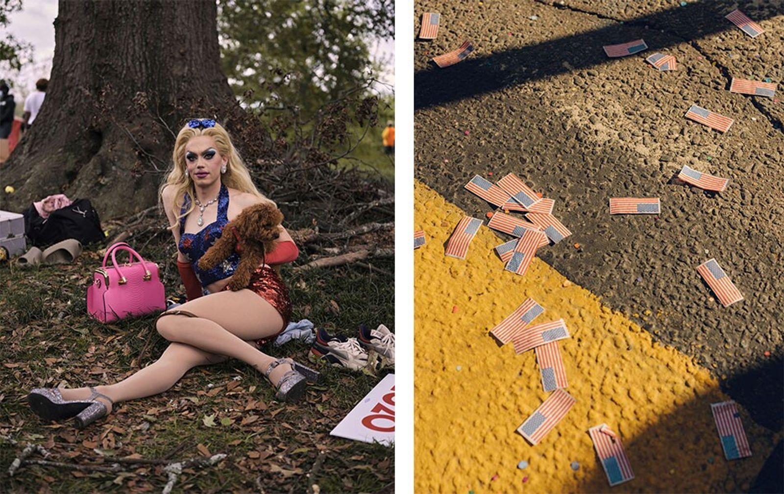 Esquerda: Brigitte Bidet em Freedom Park, no bairro Five Points de Atlanta, na Georgia, onde os ...