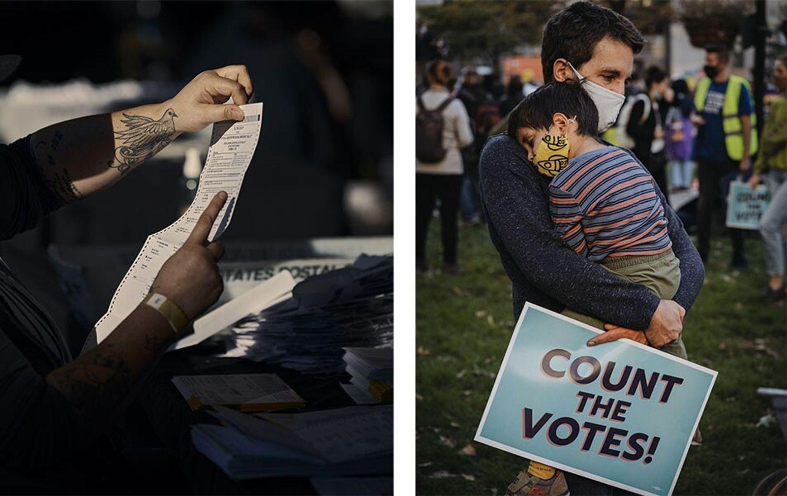 Esquerda: Funcionários do condado de Fulton contavam boletins de voto na manhã de quinta-feira, na State ...
