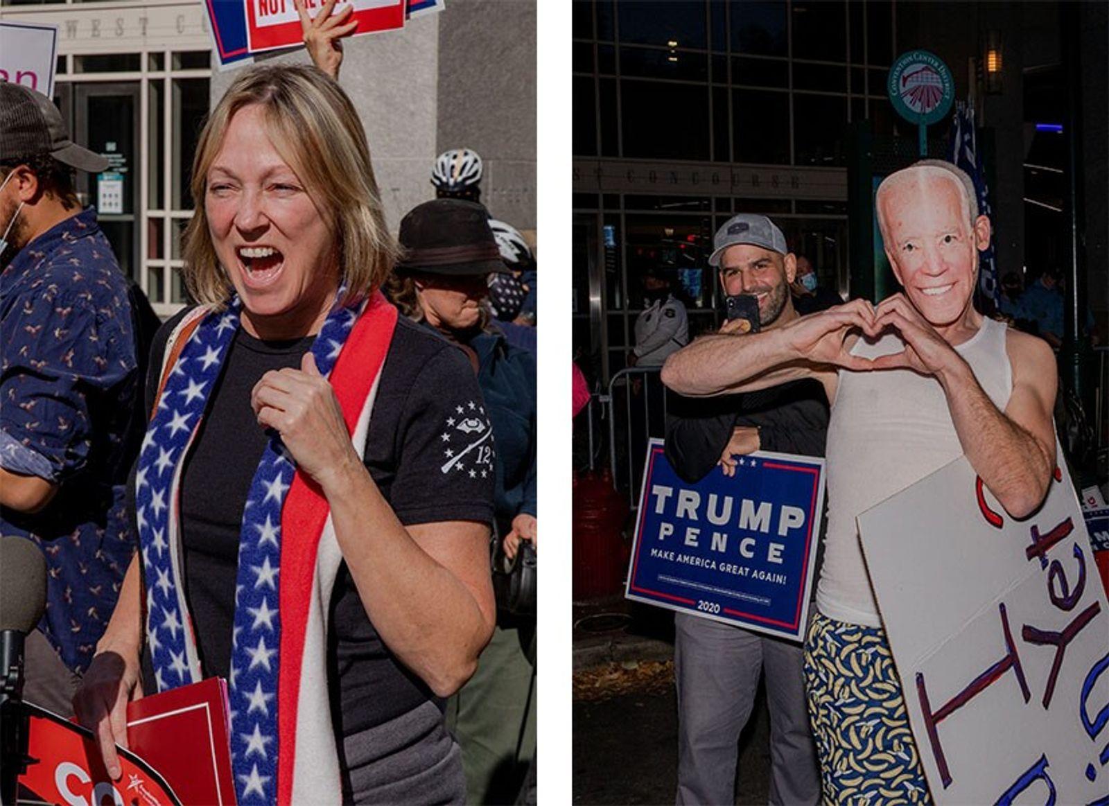 Esquerda: Enquanto os boletins de voto eram contados na manhã de quinta-feira, no Centro de Convenções ...