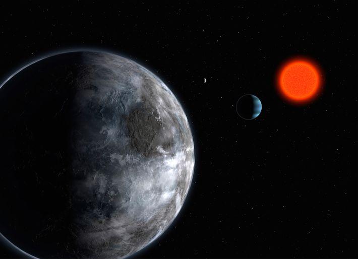 Conceção artística do sistema planetário em torno da estrela anã vermelha Gliese 581. Três planetas foram ...