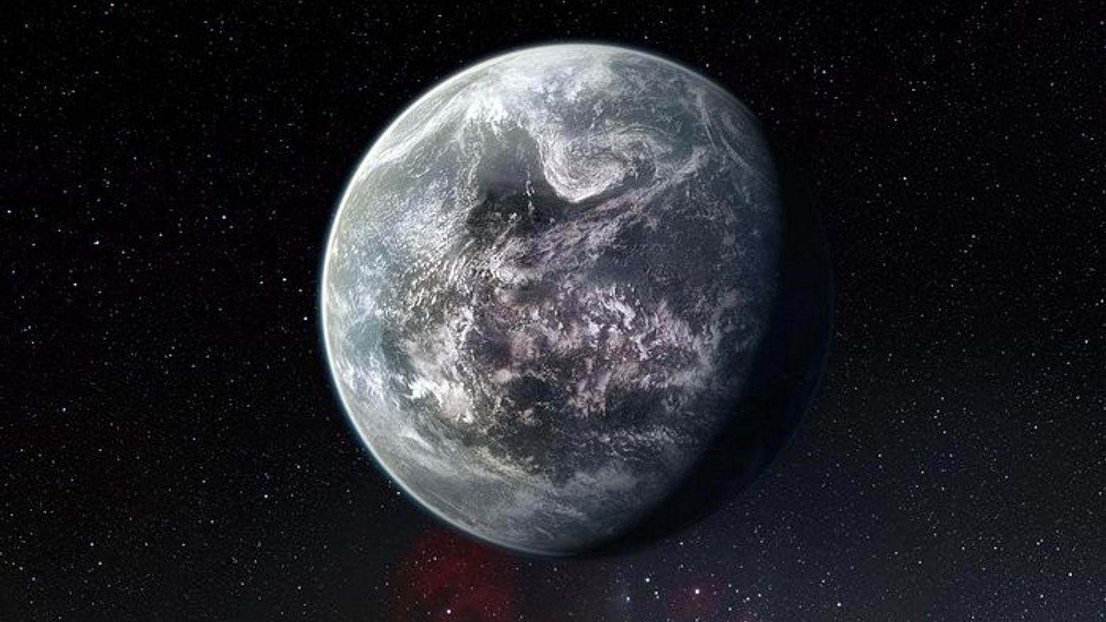 Conceção artística de um planeta semelhante à Terra. Esta imagem pretende ilustrar um planeta com mais ...