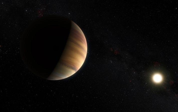 """Conceção artística do exoplaneta 51 Pegasi b, do tipo """"Júpiter quente"""" - o primeiro planeta detetado ..."""