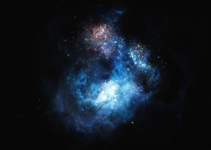 Galáxia muito distante, no Universo primordial
