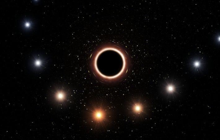 Imagem artística da S2 a passar perto do buraco negro supermassivo situado no centro da Via ...