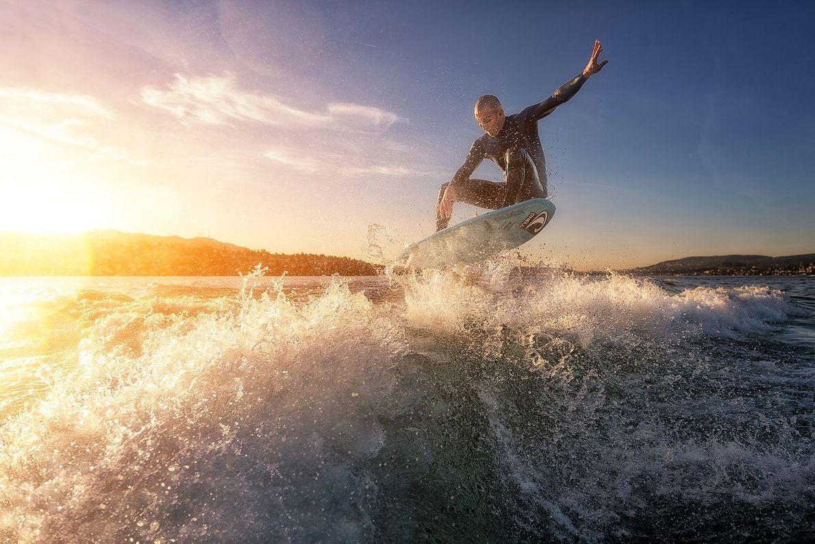 Surfar num Lago