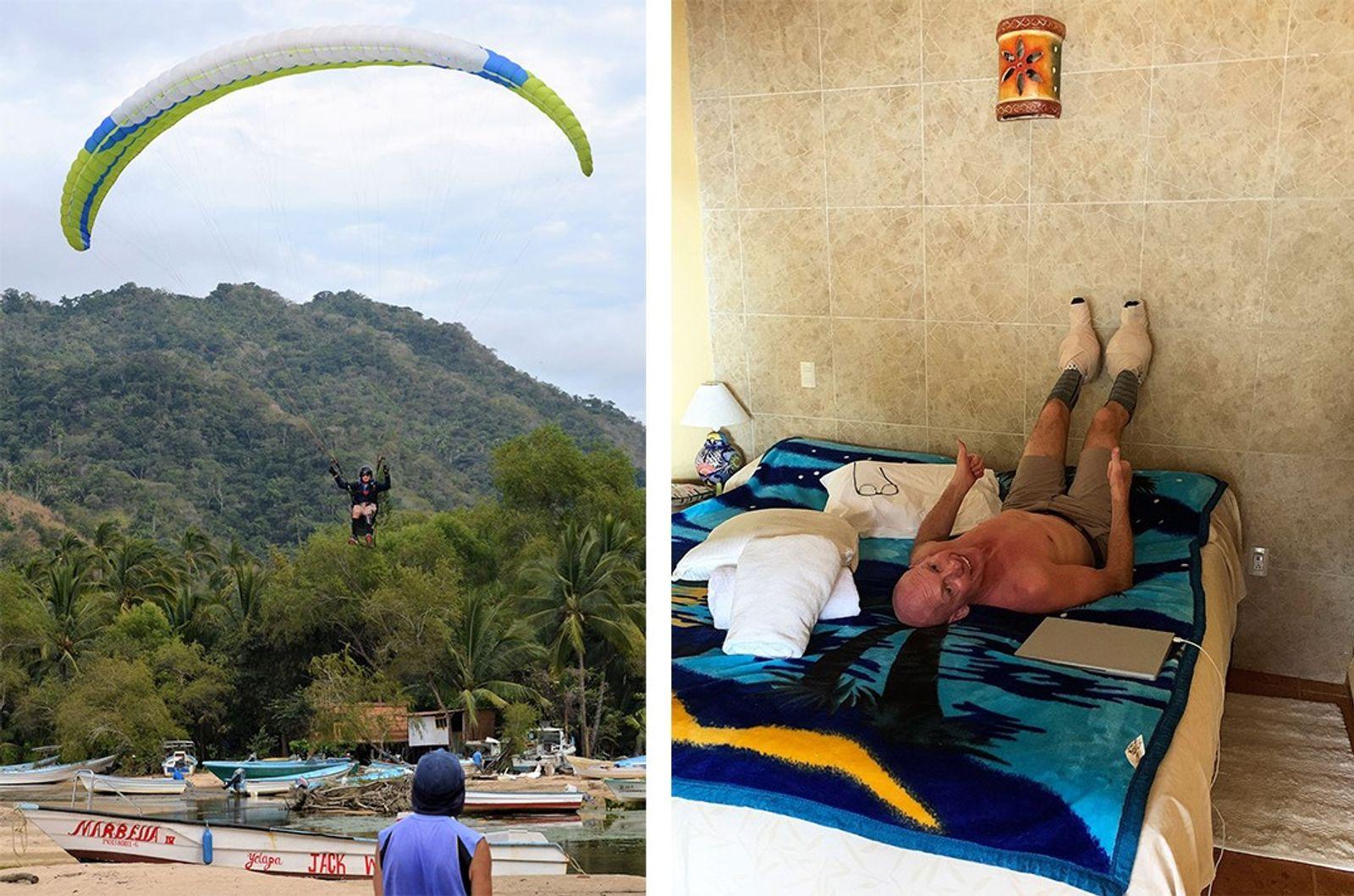 Nove meses e um dia depois do acidente, Brent transportou o seu parapente de 20 quilos ...
