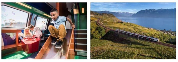 Esquerda: Crianças a brincar no escorrega do vagão familiar da SBB. Direita: Um comboio suíço oferece vistas ...