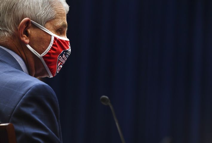 Anthony Fauci, diretor do Instituto Nacional de Alergia e Doenças Infecciosas dos EUA, usa uma máscara facial ...