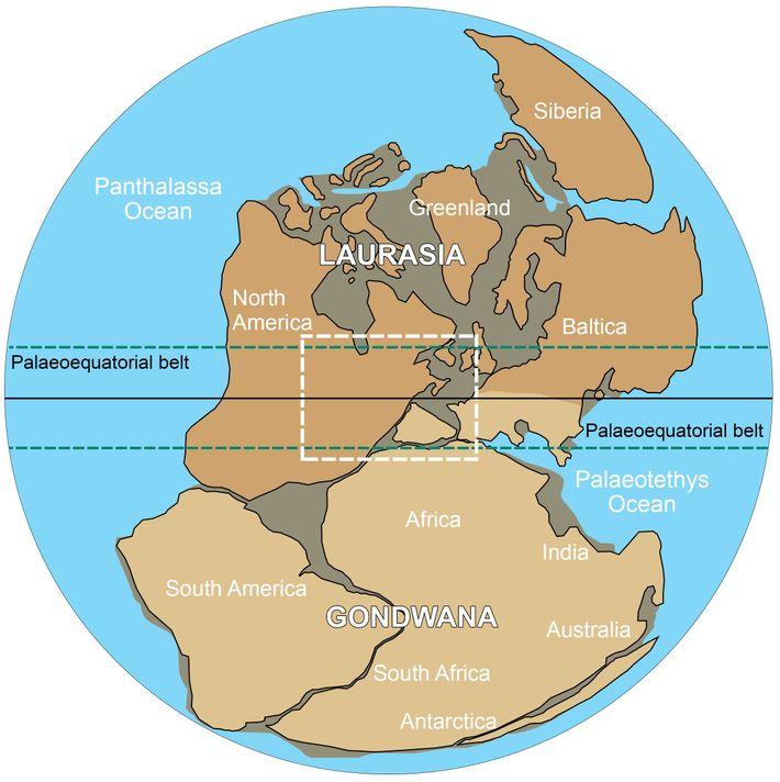 """Configuração """"Wegeneriana"""" (Pangeia-A) baseada na conexão continental entre Laurentia e Ibéria no final do Paleozóico. Reconstrução ..."""