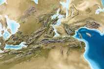 Visão ampliada do interior do supercontinente Pangeia que apresenta a ligação geográfica entre as massas continentais ...