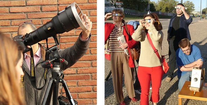 Câmara fotográfica com filtro solar e óculos de eclipse