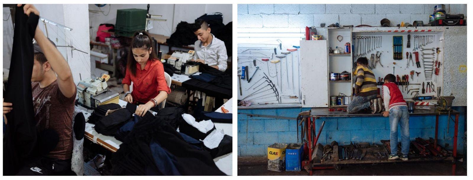 Esquerda: Ao longo dos anos, os enormes períodos de tempo a trabalhar na máquina de costura ...