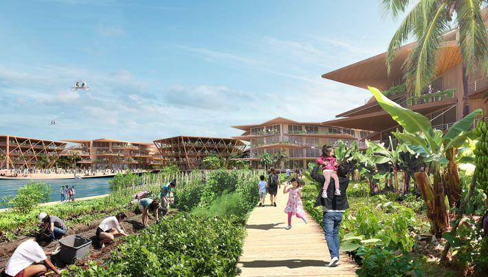 Neste conceito de cidade flutuante, uma aba flexível e flutuante serviria para acomodar produção alimentar, ancoragem ...