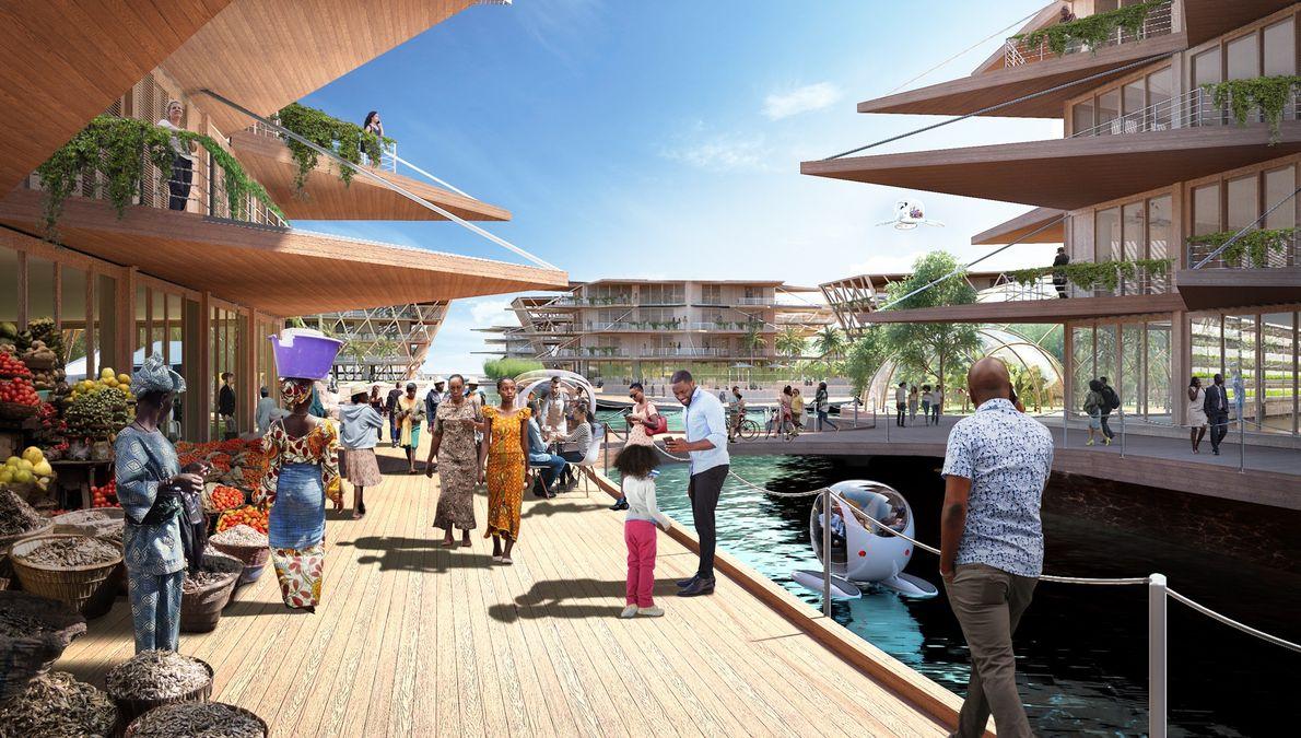Neste conceito, projetado para uma cidade africana, são destacados os espaços comunitários.