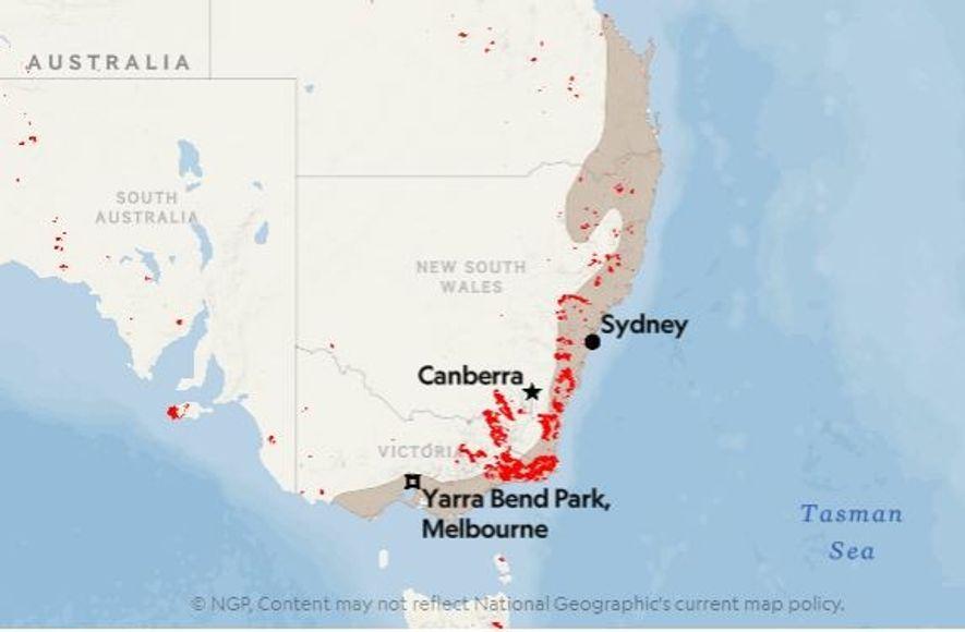 Os pontos vermelhos mostram a localização dos incêndios detetados na Austrália na semana que terminou no ...
