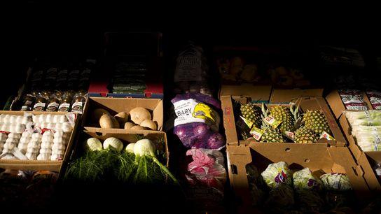 Caixas de fruta e vegetais