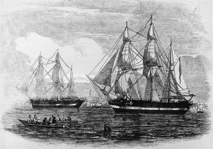 """Em 1845, quando a expedição de Franklin partiu da Grã-Bretanha, o """"H.M.S. Terror"""" e o """"Erebus"""" ..."""