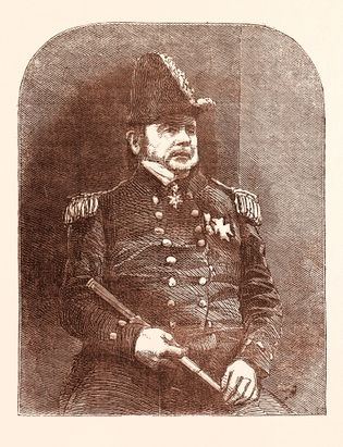 A malfadada expedição foi liderada pelo herói naval britânico e explorador do Ártico, Sir John Franklin.