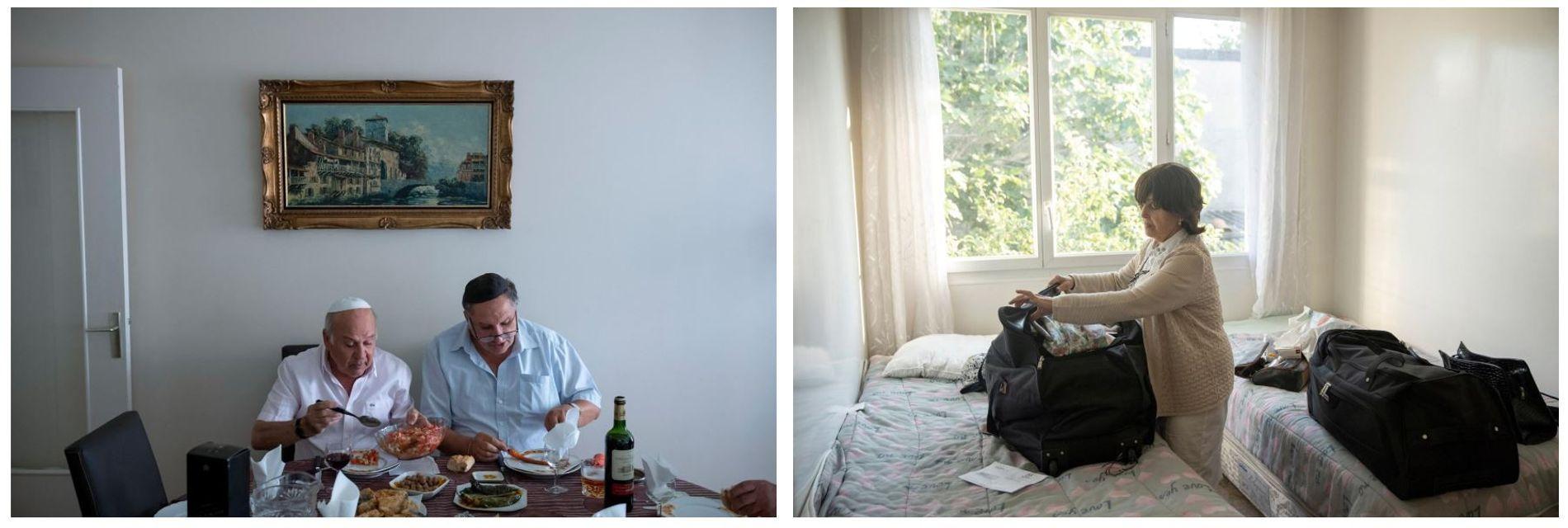 Esquerda: Yohanane Elfersi (à direita) desfruta de um último almoço em família em Paris, no dia ...