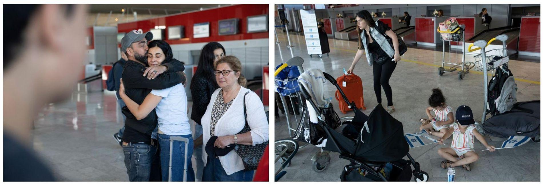 Esquerda: Yael Zeitoun despede-se da sua família no aeroporto Charles de Gaulle, em Paris, antes de ...