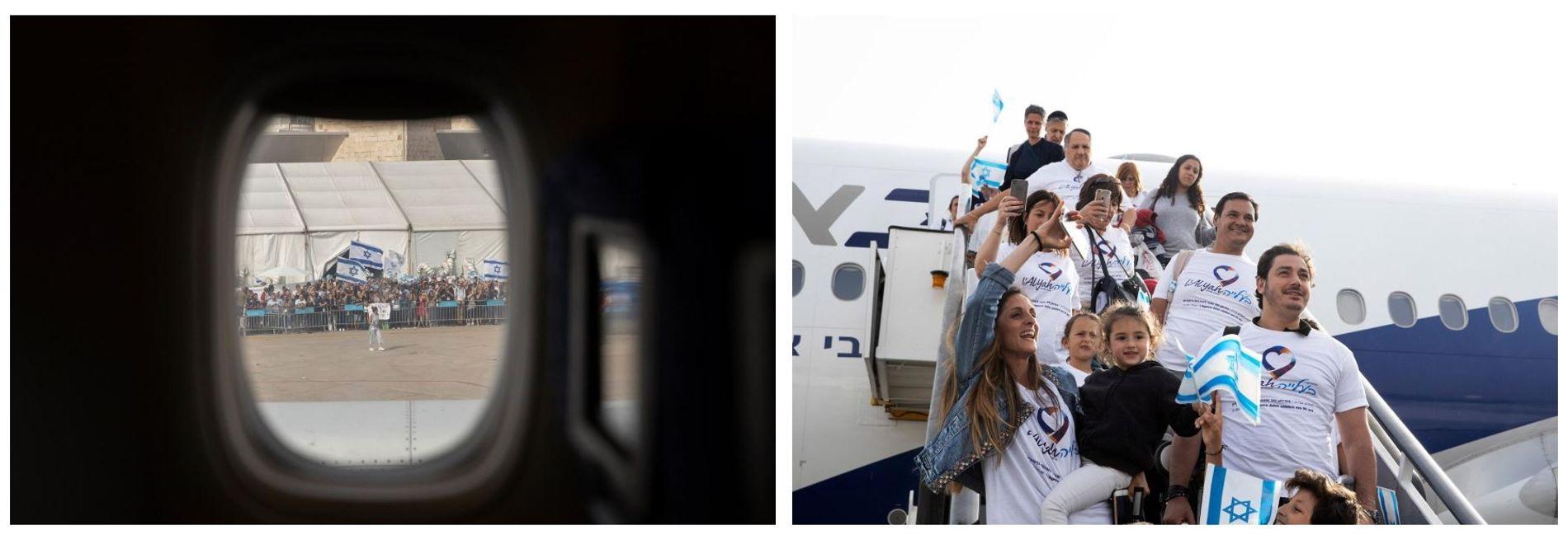 Esquerda: Uma multidão reunida em celebração na pista do aeroporto Ben Gurion, em Telavive, para receber ...