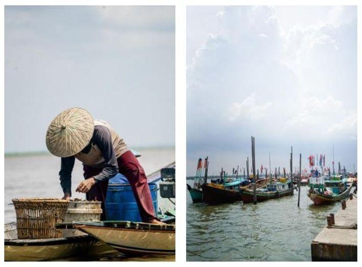 Esquerda: Um pescador a trabalhar no Lago Melintang, no Bornéu indonésio. Direita: Barcos de pesca em Sungsang, ...