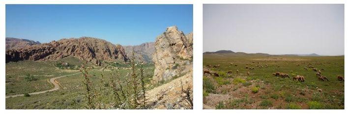 Esquerda: Paisagens de tirar o fôlego são comuns por todo o país. Aqui em Djebel Lext, ...