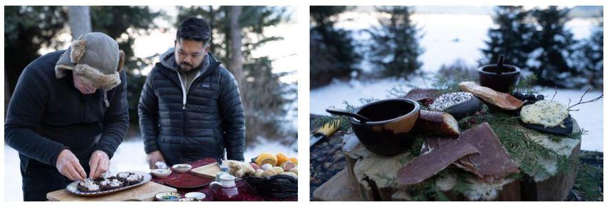 Esquerda: O chef local, Lionel Udippa, observa Gordon Ramsay a dar os retoques finais num prato ...