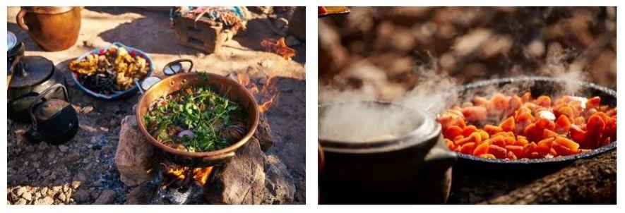 Esquerda: Os preparativos para celebrar o Ano Novo marroquino estão a decorrer. Direita: Cenouras caramelizadas, feitas com ...