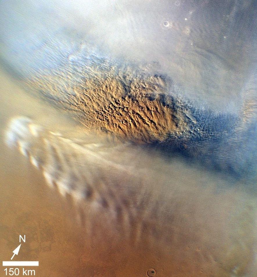 Esta imagem de uma tempestade de poeira em Marte foi obtida em 2007 pela Mars Reconnaissance ...