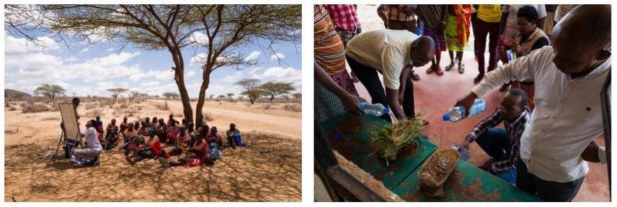 Esquerda: Mulheres Samburu participam num workshop sobre gestão holística da terra que visa melhorar a produção ...