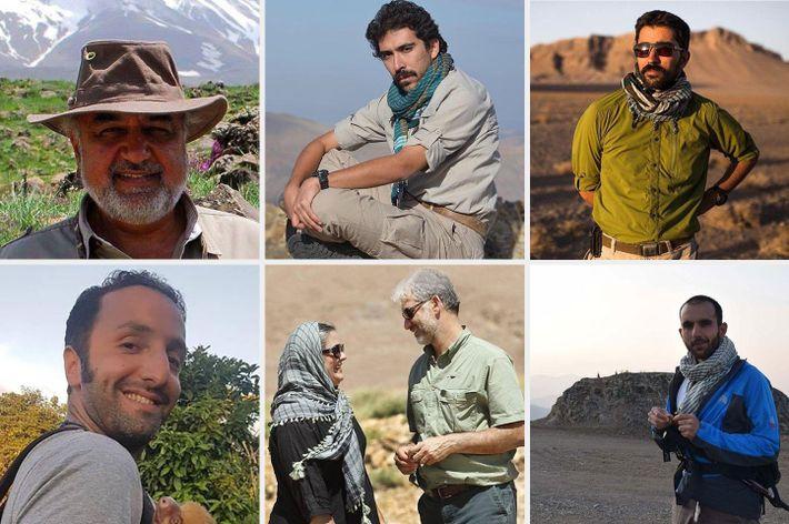 Sete dos oito ambientalistas detidos: Morad Tahbaz, Amir Hossein Khaleghi, Taher Ghadirian, Sam Radjabi, Houman Jowkar ...