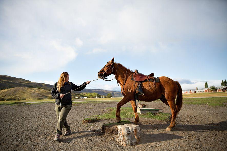 Uma guia turística passeia um cavalo chamado Zapata em Torres del Paine.