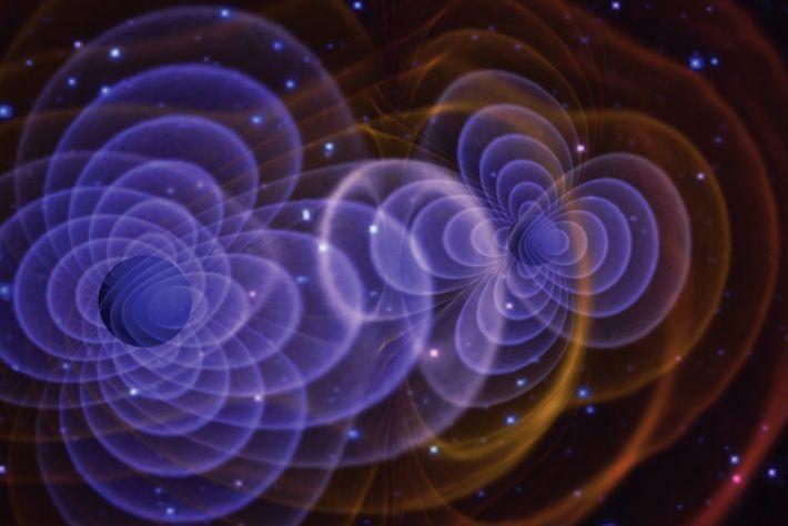 Ilustração das ondas gravitacionais produzidas por um binário de buracos negros. Os buracos negros são tão ...