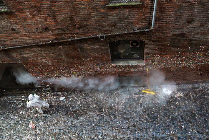 Em 2015, a Gum Wall foi limpa pela primeira vez em 20 anos – foram removidos ...