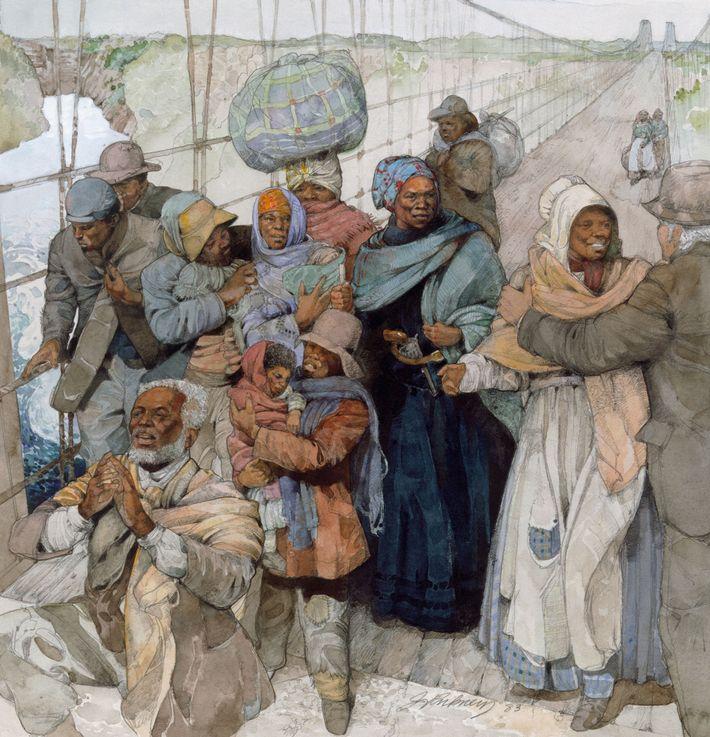 Uma ilustração de Harriet Tubman, armada com o seu revólver, a levar escravos, agora livres, para ...