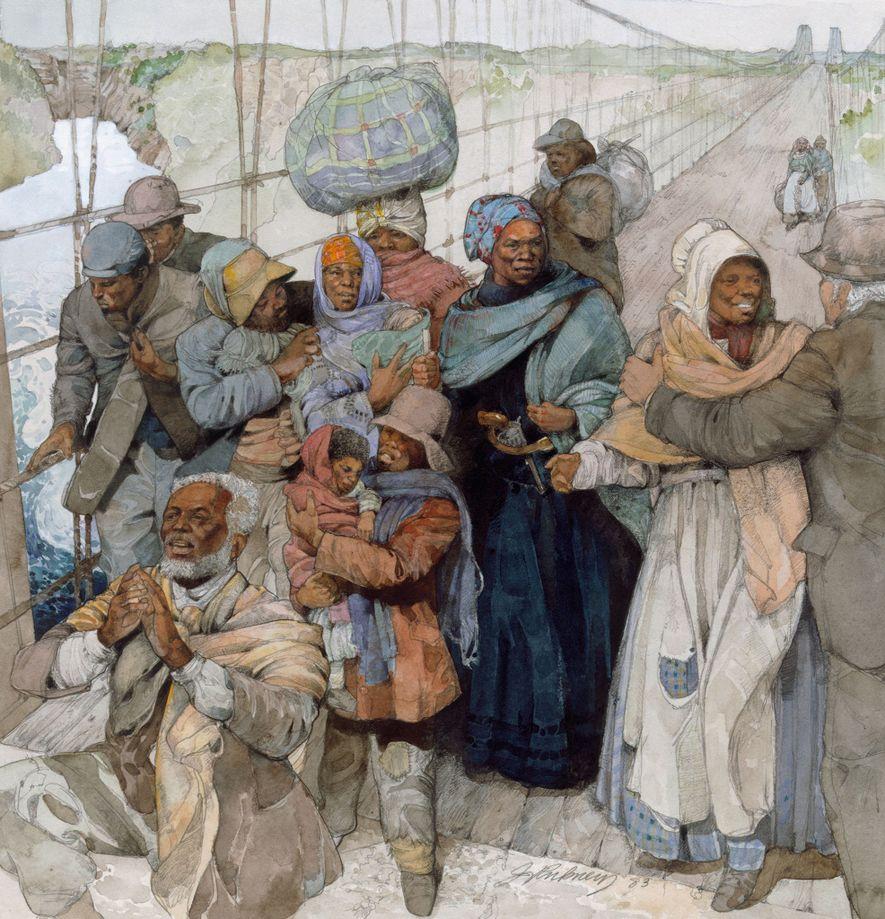 Uma ilustração de Harriet Tubman, armada com o seu revólver, a levar escravos, agora livres, para o Canadá.