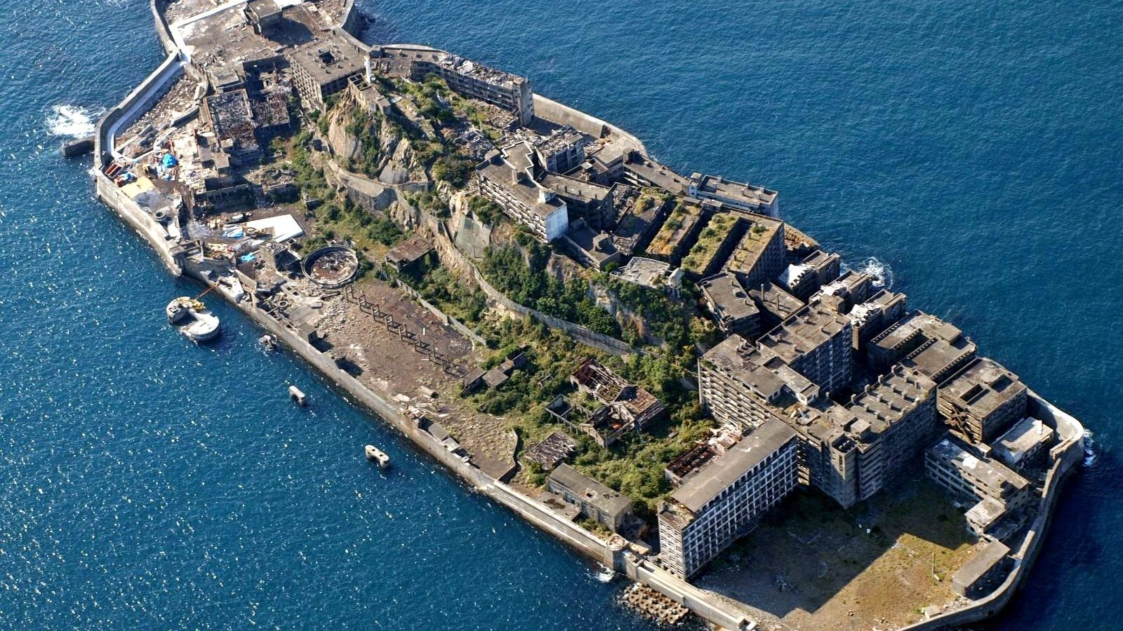 Vista aérea da Ilha de Hashima.