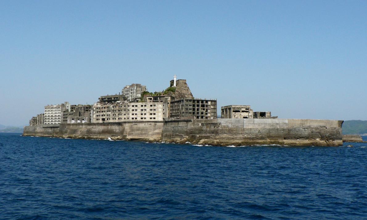 Vista do mar da Ilha de Hashima.