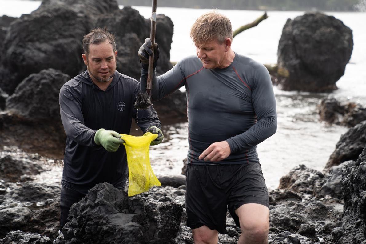 Gordon Ramsay aprende a apanhar ouriços-do-mar e lagosta espinhosa com o habitante local Allen Ting.
