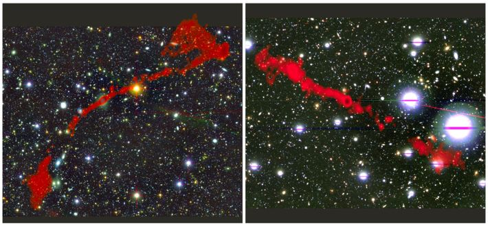 duas radiogaláxias gigantes