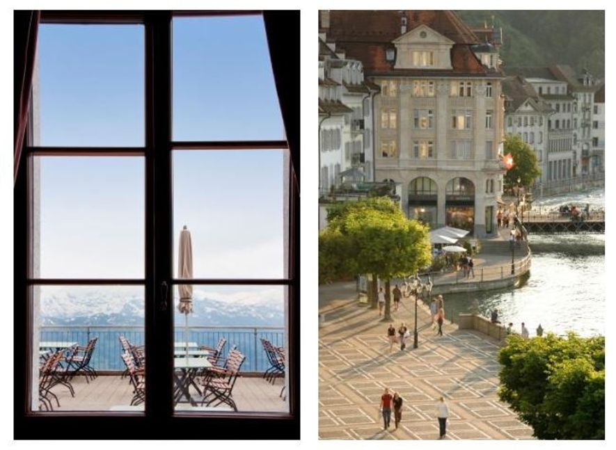Esquerda: O Hotel Pilatus-Kulm, perto do cume da montanha, oferece vistas impressionantes dos alpes. Direita: Pessoas a passear pelas ruas, perto do centro da cidade.