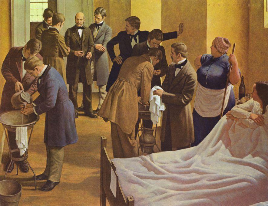 O pintor Robert Thom ilustrou Semmelweis (ao centro) no Hospital Geral de Viena, na Áustria, a ...