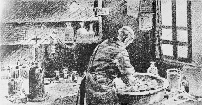 Neste esboço, Semmelweis lava as mãos numa solução de cal clorada. Apesar de o seu trabalho ...