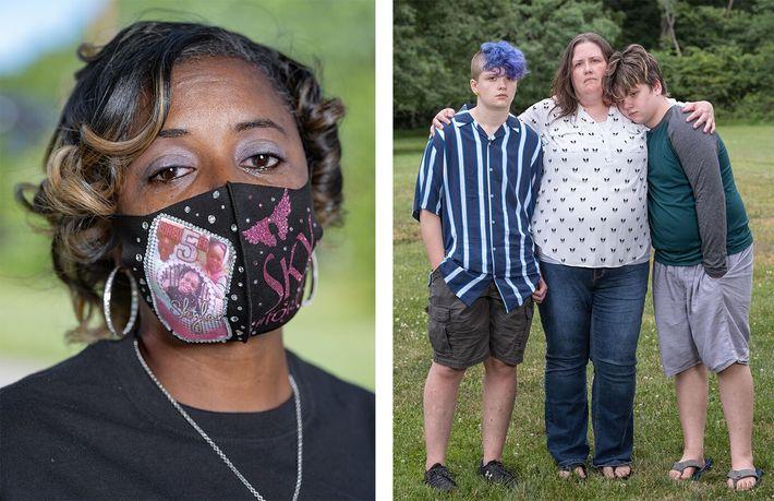 Esquerda: LaVondria Herbert, polícia em Detroit, usa uma máscara em homenagem à sua filha de cinco ...