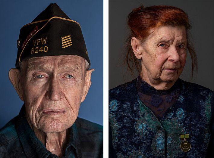 No 75º aniversário do fim da Segunda Guerra Mundial, pessoas que lutaram em ambos os lados ...