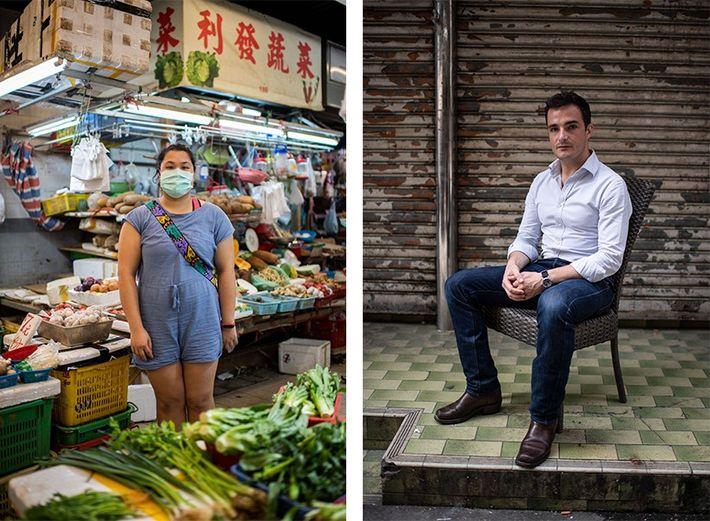 Esquerda: Para Vinci Leung Wing-yi, professora assistente de 24 anos, o Mercado de Shek Wu Hui ...